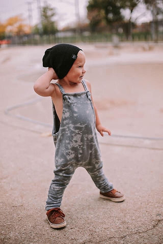 Grey Grunge Knotted Overalls
