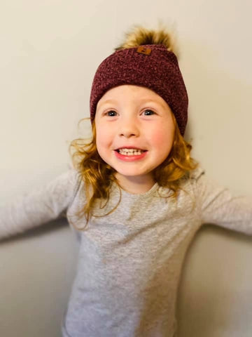 Two Toned Burgundy Beanie
