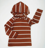 Rust and White Stripe Waffle Hoodie