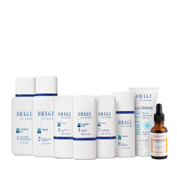 Obagi Nu-Derm Fx System (Normal to Oily) Plus Dermavenue C & E Essential Serum w/ Ferulic Acid