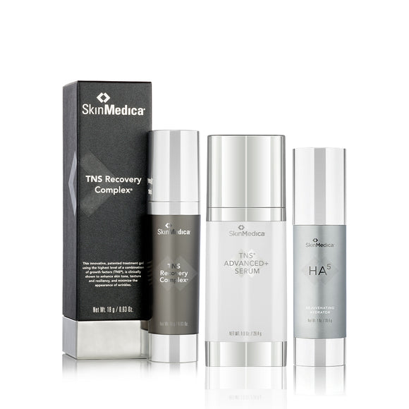 SkinMedica TNS Recovery Complex (.63oz) + TNS Advanced+ Serum + Ha5 Rejuvenating Hydrator (1oz) Bundle