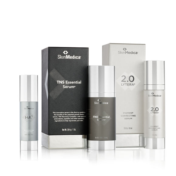SkinMedica TNS Essential Serum + Lytera Pigment Serum 2.0 + Ha5 Rejuvenating Hydrator (1oz) Bundle
