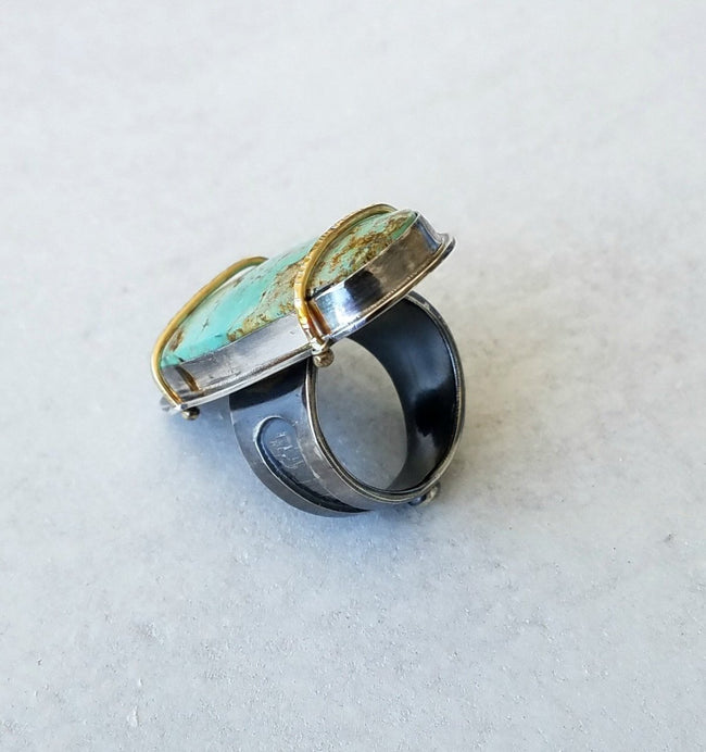 Sterling Silver, 18 kt gold & Turquoise Ring