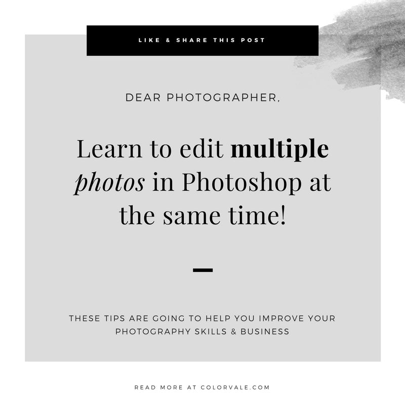 Learn to edit multiple photos in Photoshop at the same time!
