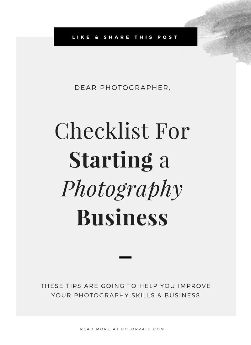 Checklist For Starting A Photography Business