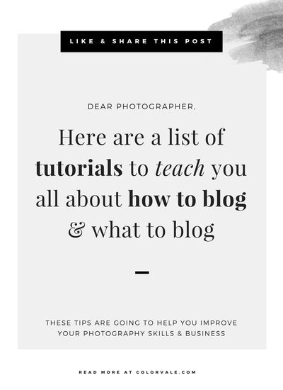Photographers:  Here are a list of tutorials to teach you all about how to blog & what to blog