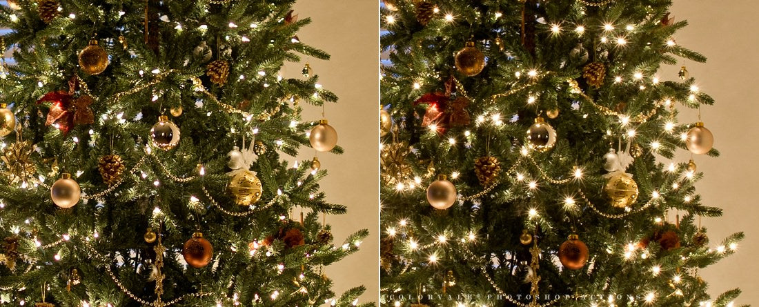 How to photograph a Christmas tree with sparkly lights