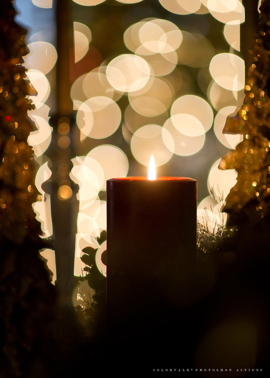 how to photograph candles with christmas lights