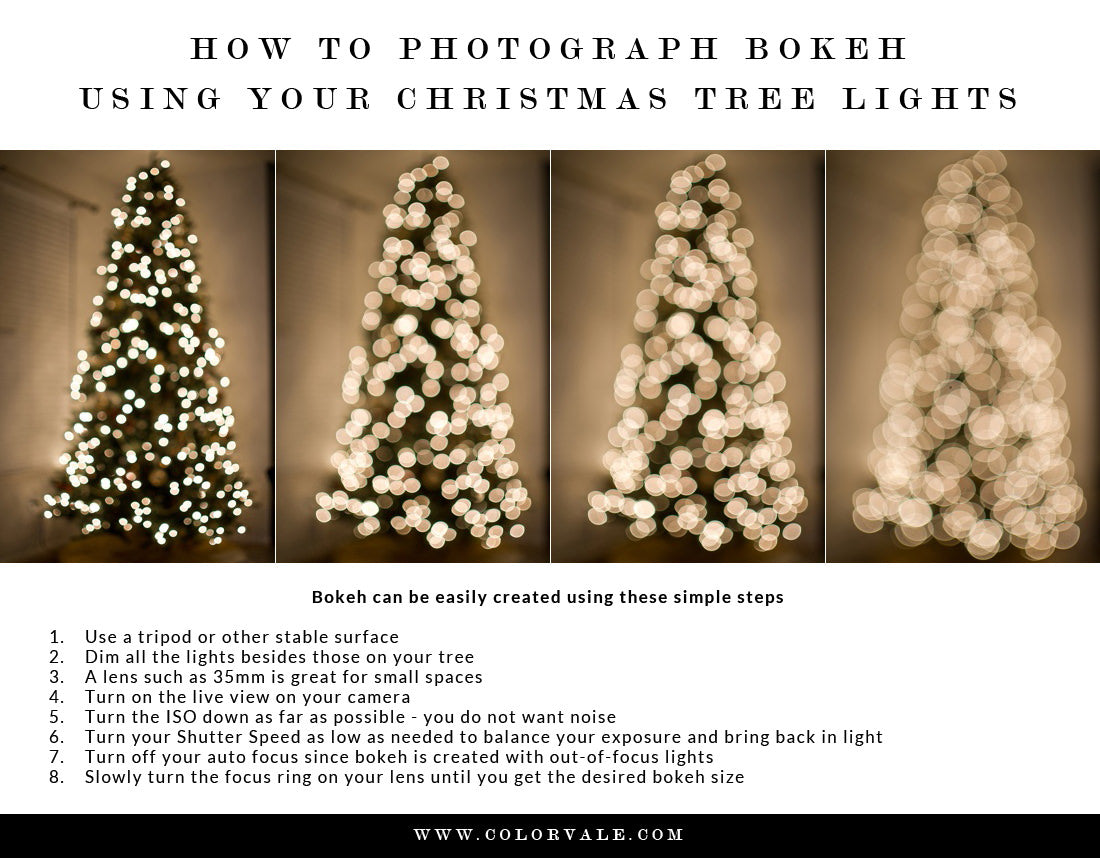 How to photograph Christmas tree bokeh