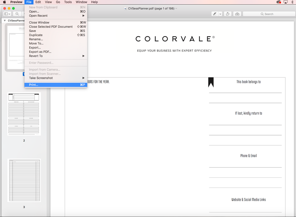 Open The Colorvale Planner PDF File In Adobe