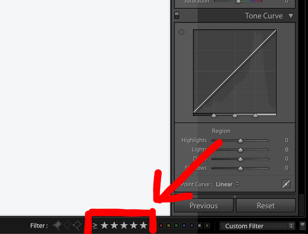 How to filter only 5 star images in Lightroom
