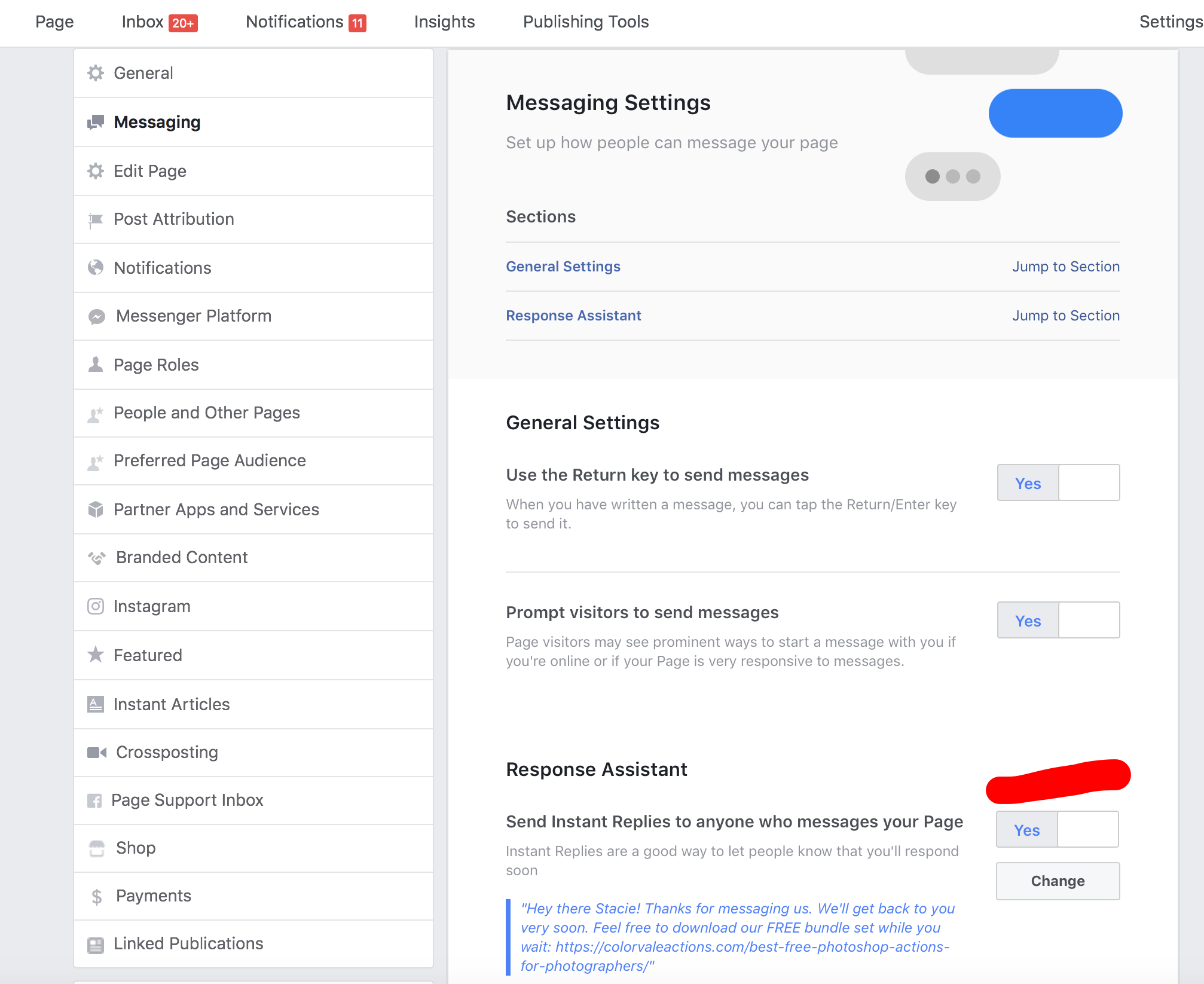 How to create an auto message reply on your Facebook business page