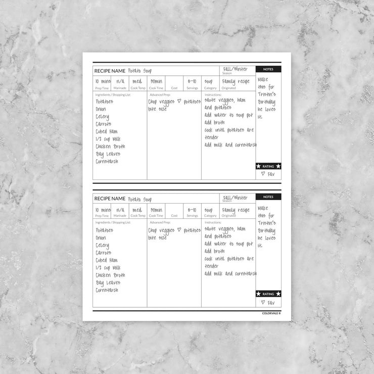 Build your own planner - Recipe Planner (add to each monthly section)