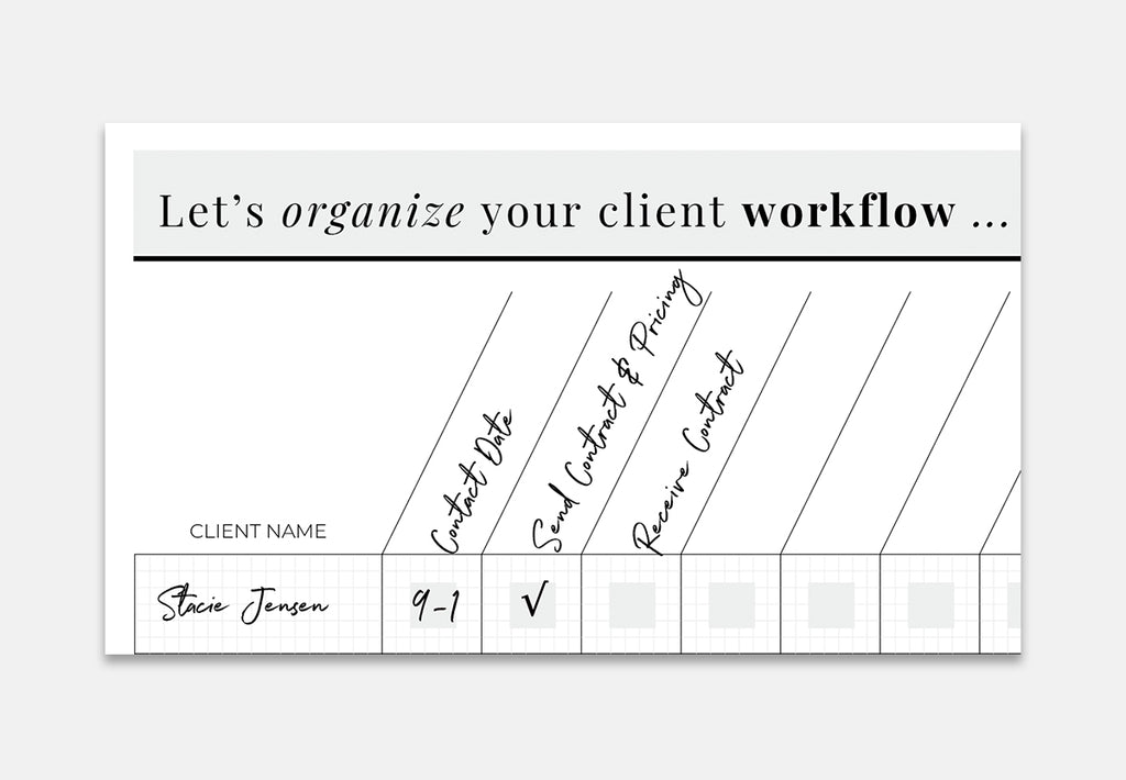 Client Workflow Chart - for photographers - Planner