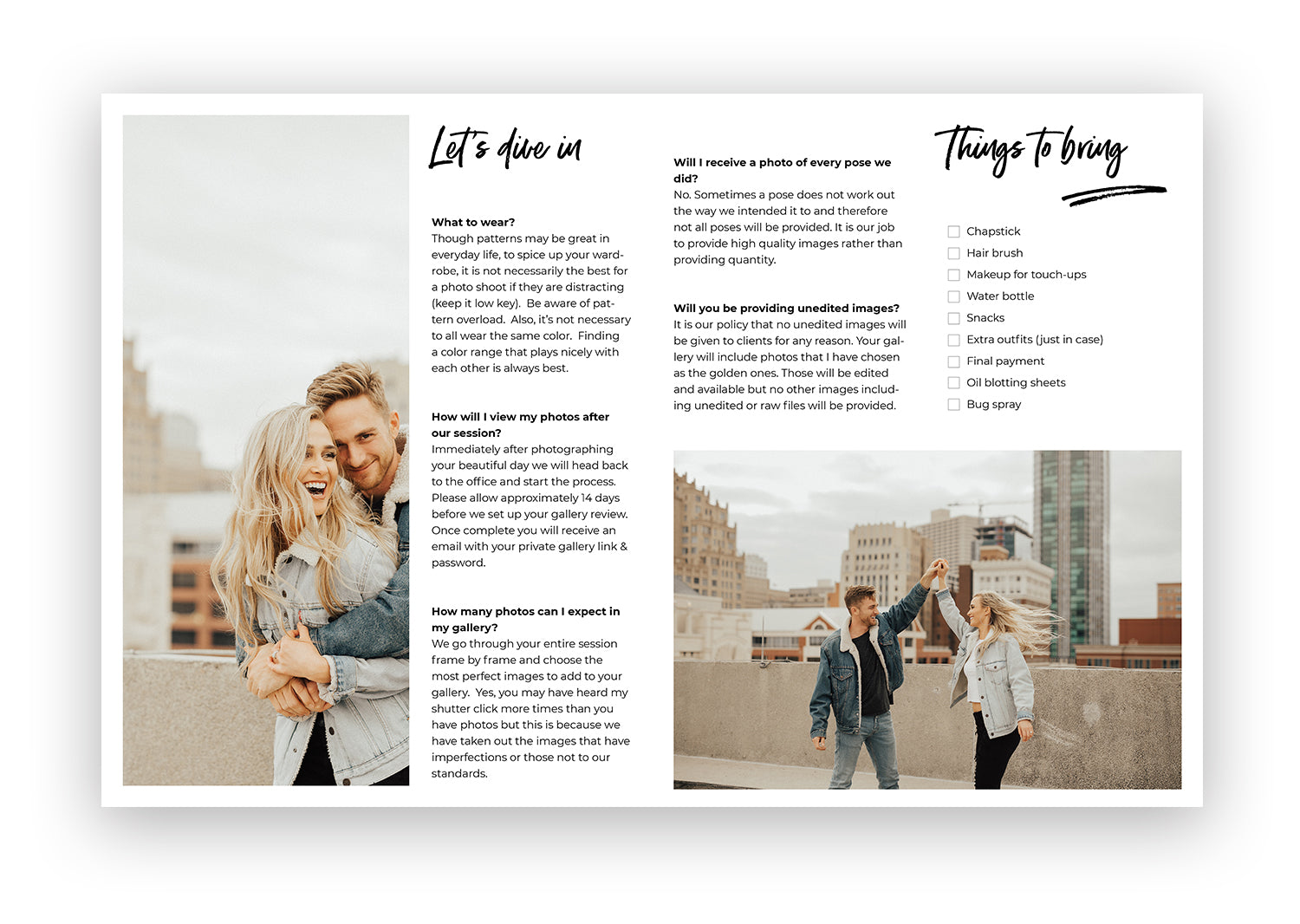 Photography:  Client What To Expect Card