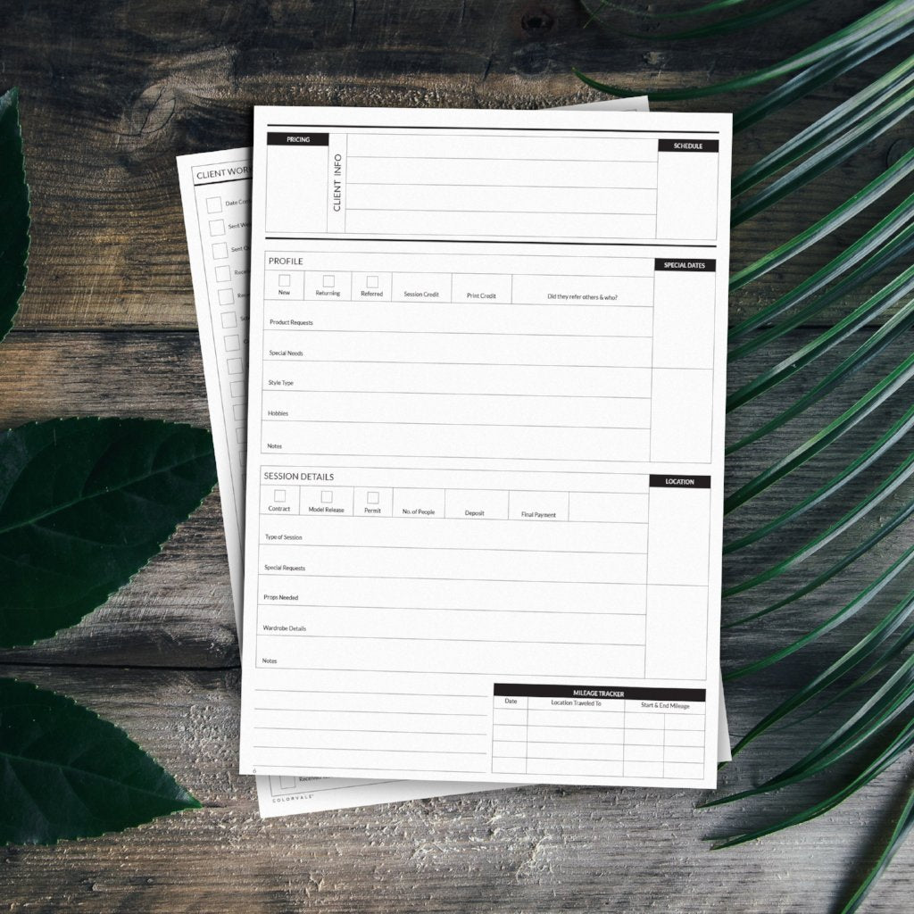 Client workflow & session planner for photographers