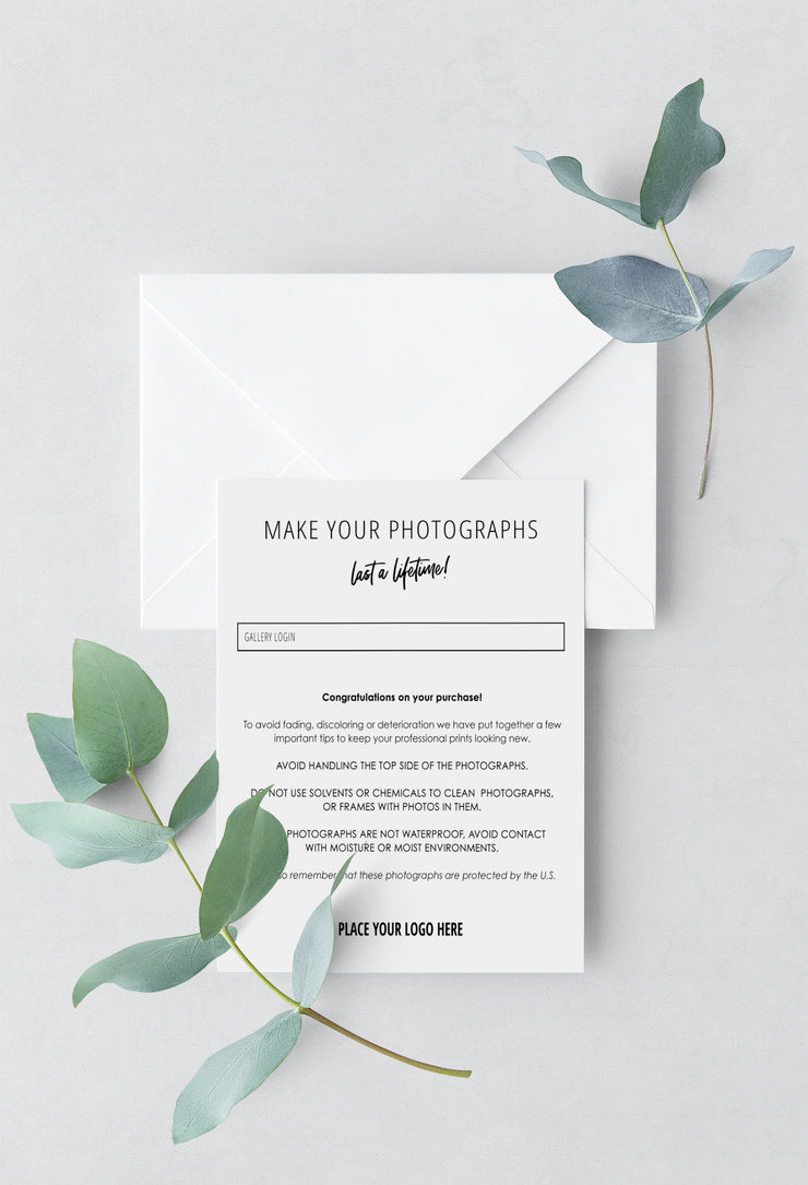 Client Product Care Card - for photographers - Business Tools