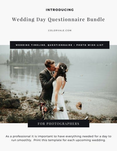 Wedding Day Questionnaire Bundle for Photographers