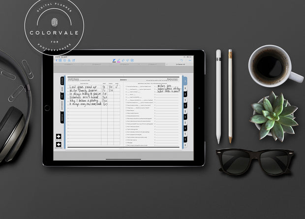 Digital Business Planner for Photographers (use on Apple & Android Devices)