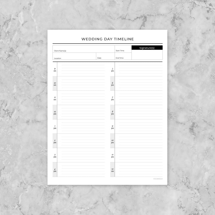 Wedding Day Timeline - for photographers - Planner