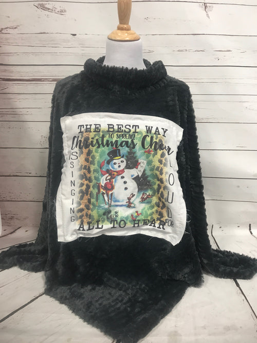 Singing Loud Christmas Cheer Dark Gray Fur Poncho