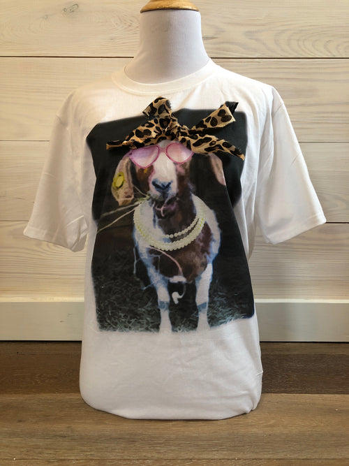 Fancy Goat with Leopard Bandana on Cream Tee