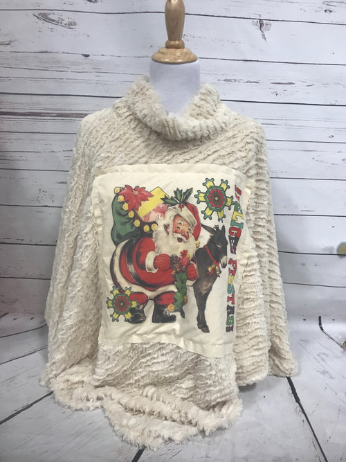 Fiesta Santa with Donkey Cream Patch on Fur Poncho