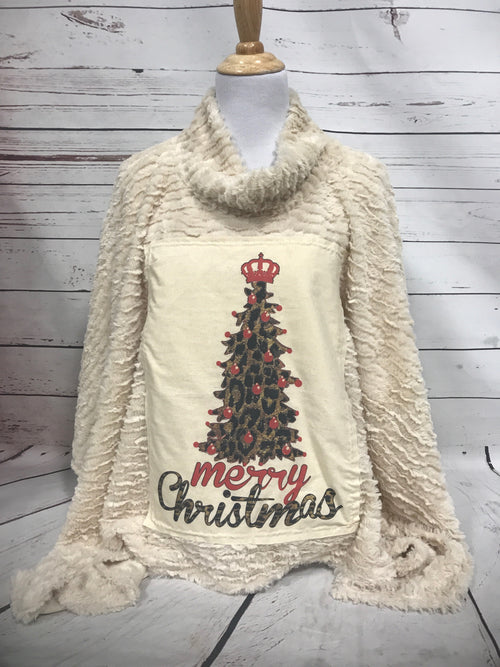 Leopard Christmas Tree Cream Patch on Cream Fur