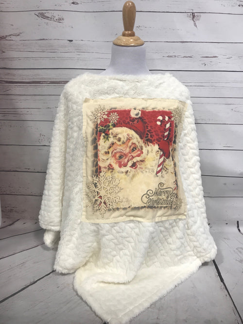 Candy Cane Santa Cream Patch on Fur Poncho