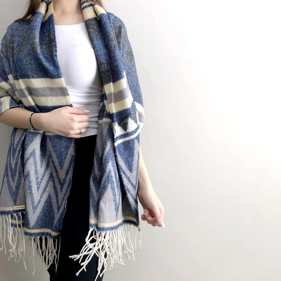 Cotton Blanket Scarf - Geometric Print