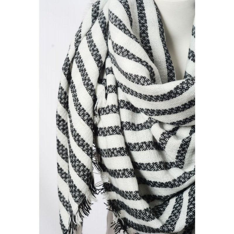 Black Striped Blanket Scarf