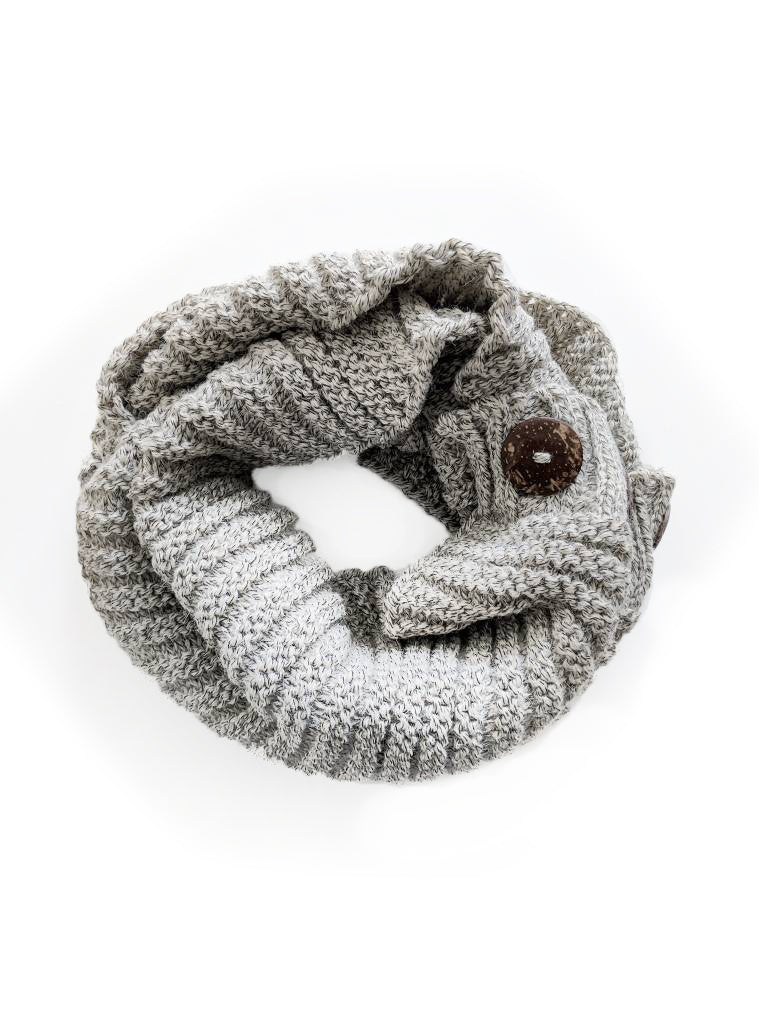 Knit Buttoned Infinity Scarf
