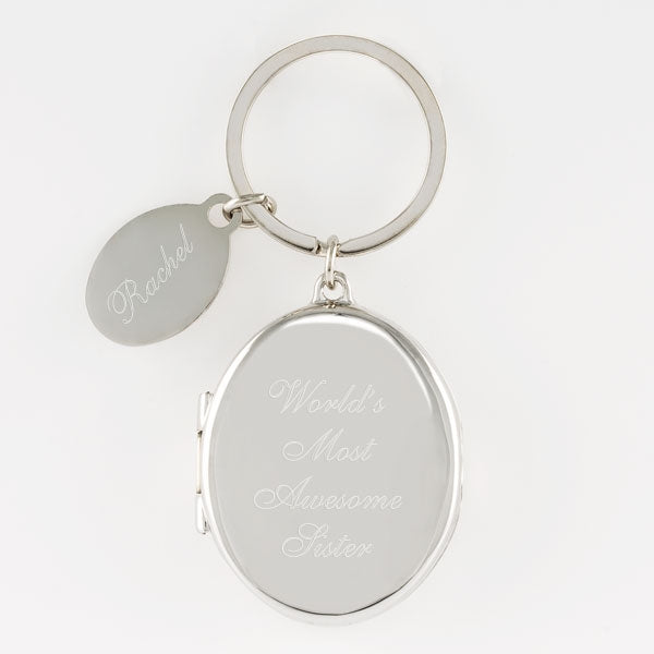 Silver Locket Keychain - Things Engraved