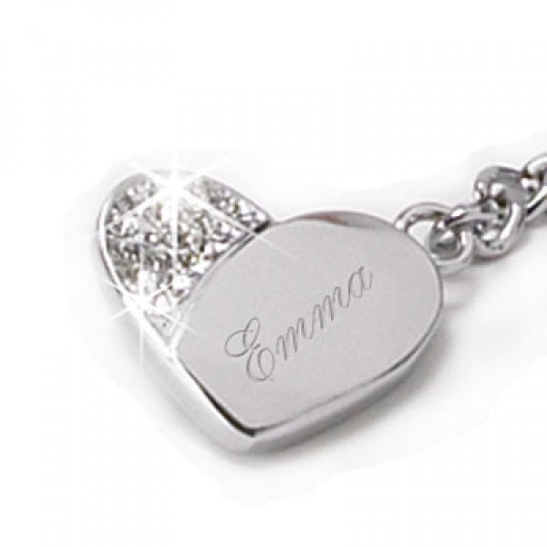 Keychain, Silver Heart with Crystals