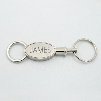 Valet Oval Keychain - Brushed/Bright Silver - Things Engraved