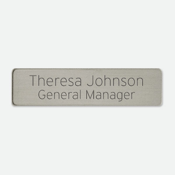 "Brushed Silver Look Name Badge  2  1/2"" x 5/8"" - Things Engraved"
