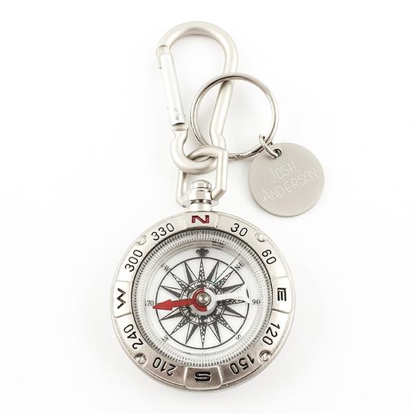 Compass Carabiner Keychain with Tag