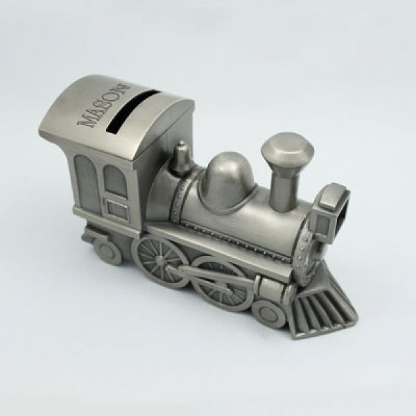 Pewter Train Bank - Things Engraved