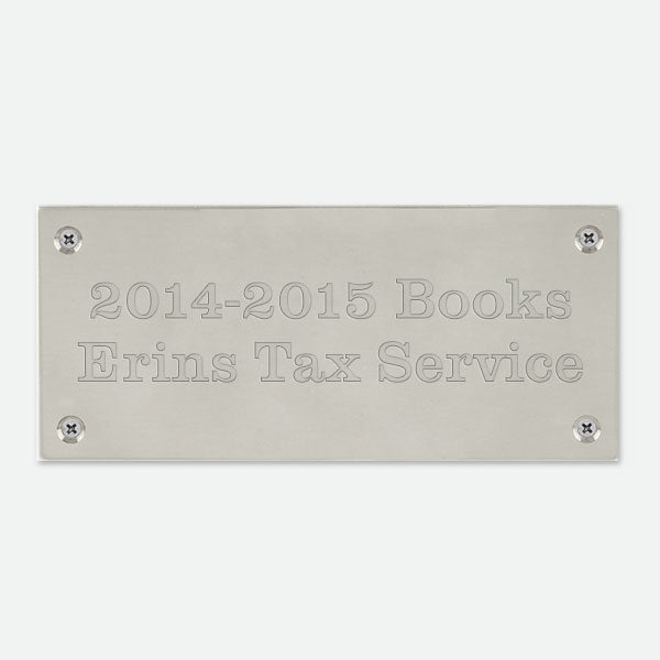 "Pewtertone Plate With Screws  3  1/2"" x  1  9/16"" - Things Engraved"