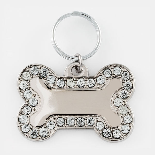 White Jewel Bone Pet Tag