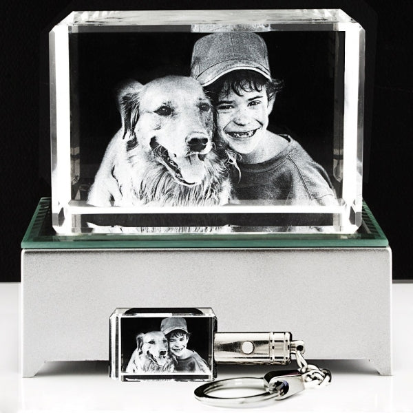 3D Photo Crystal Large with key chain - Things Engraved