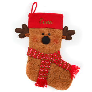Reindeer Plush Face Stocking - Things Engraved