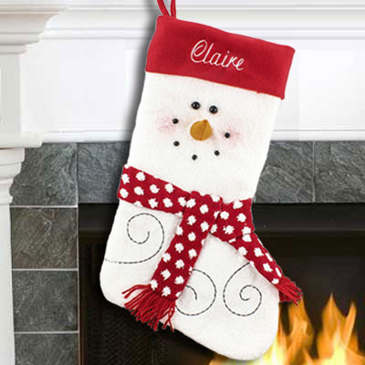 Snowman Plush Face Stocking