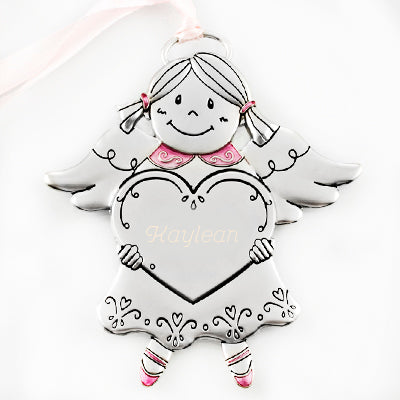 Pink Angel Girl with Heart Ornament - Things Engraved