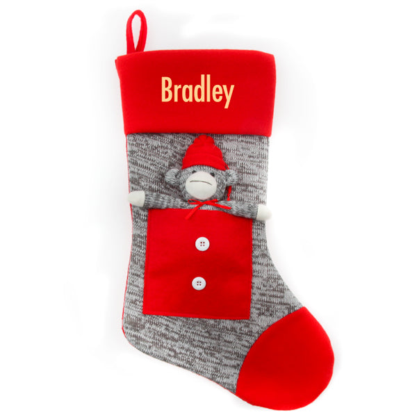 Grey Sock Monkey Stocking - Things Engraved