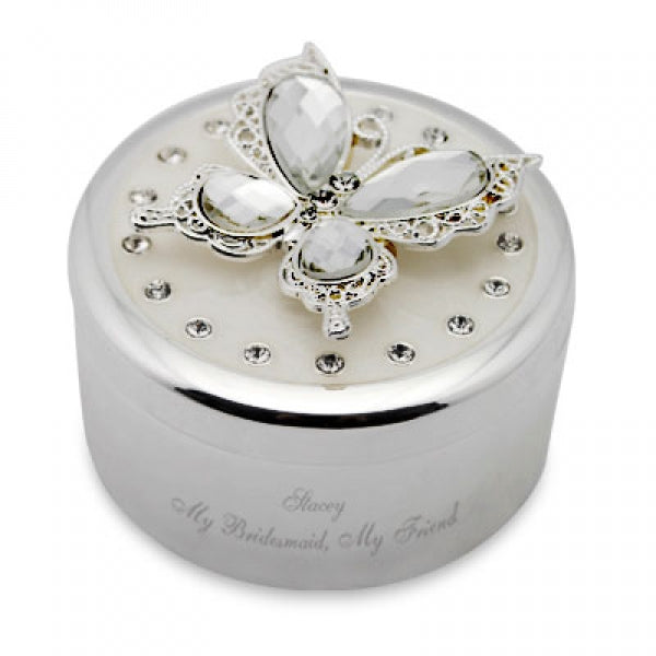 Round Butterfly Trinket Box
