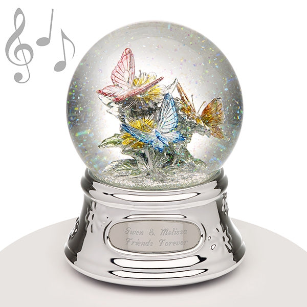 Musical Water Globe - Butterflies - Things Engraved