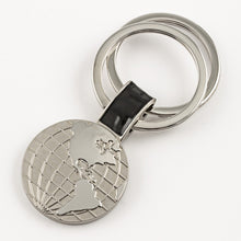 Silver Globe Keychain with 2 Rings - Things Engraved