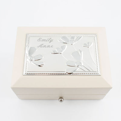 Flowers Jewellery Box - Light Beige - Things Engraved