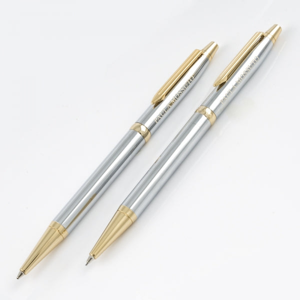 Cadence Pen & Pencil Set - Chrome/Gold - Things Engraved